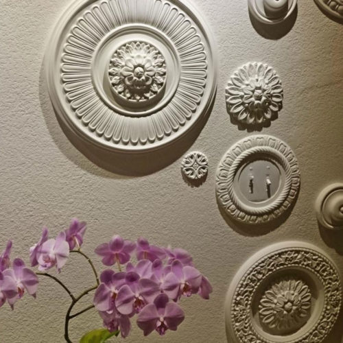 Ceiling medallions are manufactured from high-density furniture grade polyurethane and are water and heat resistant impervious to insect infestation and odor-free.