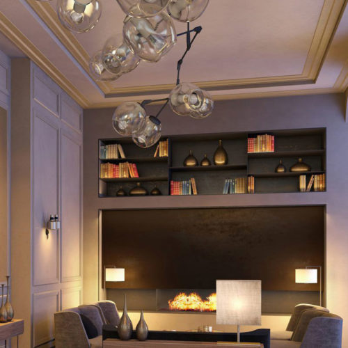 contemporary interior with modern 2-step crown molding