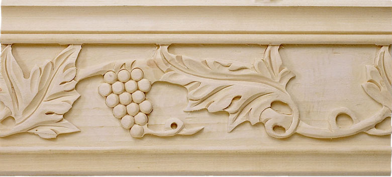 Sonoma Carved Crown Molding - bass wood