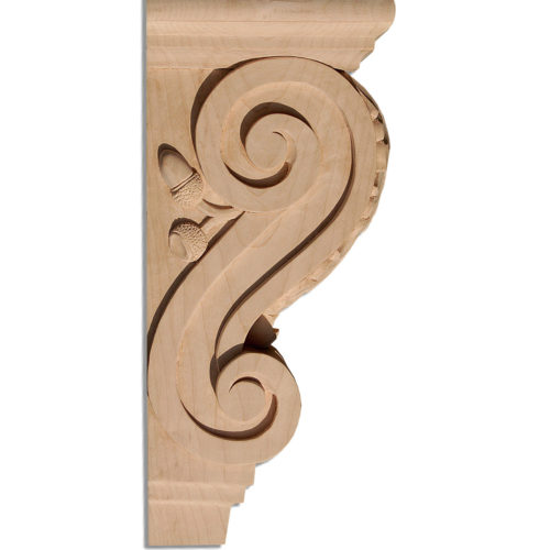 Hartford wood corbels are hand-carved with a classic acanthus leaf design on the front, scrolls and acorns on the sides. Corbels have two metal inserts on the back for easy installation. Hartford corbels are triple sanded, ready to accept final finish