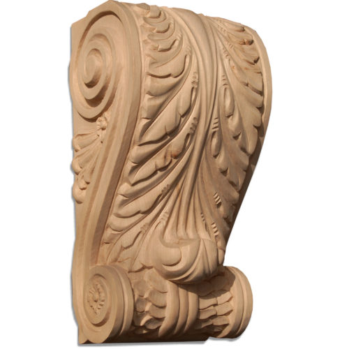 Houston corbels are hand-carved with acanthus leaf on the front, traditional scrolling with rosette center and leaf design on the sides