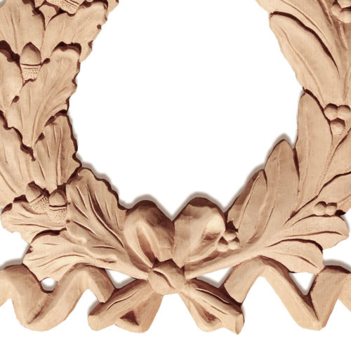 Montpelier wreath center onlay is hand crafted from premium selected hard maple, white oak and cherry. Design of this wreath onlay features carved in deep relief laurel on one side and oak leaf with acorns on the other side of the wreath. Both branches are elegantly tied with a ribbon