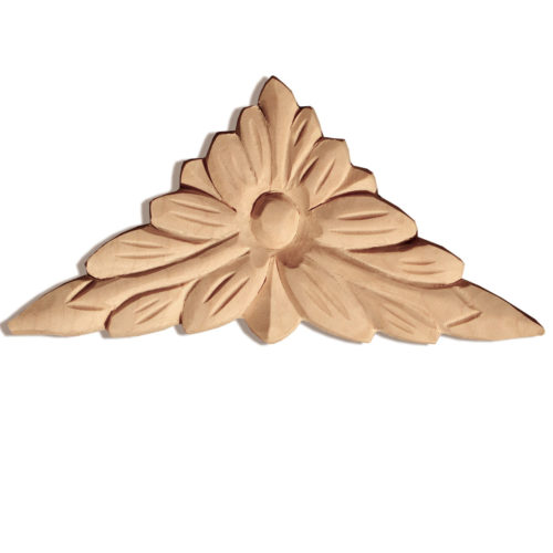 Vista wood plaques are carved in a deep relief with leaf and flower motif. These plaques are hand carved by skilled craftsman from premium selected hardwoods