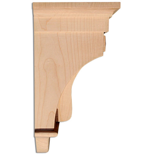 Texas wood corbels feature Mission style design with double recessed panels and deep fluting on the curved front.
