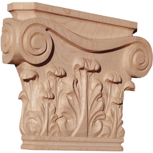 Portland hand carved wood capitals are carved in a deep relief with rising acanthus leaf