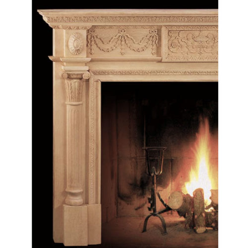The elaborate Annapolis fireplace mantel incorporates designs of the eighteen century. Deeply curved half-columns of this fireplace mantel bringing your eye up through the oval floral rosettes