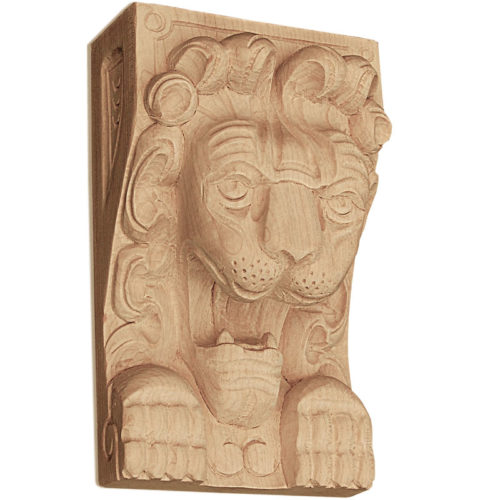 Wood plaques are carved in a deep relief with lion design