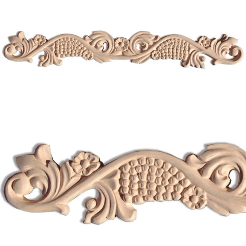 Obispo wood carvings crafted from premium selected hardwood. Wood carvings feature carved in deep relief grapevine motif with flowers and grape clusters