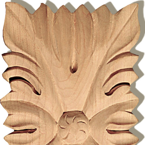 Hanover rectangular wood rosette is carved in a deep relief with leaf motif
