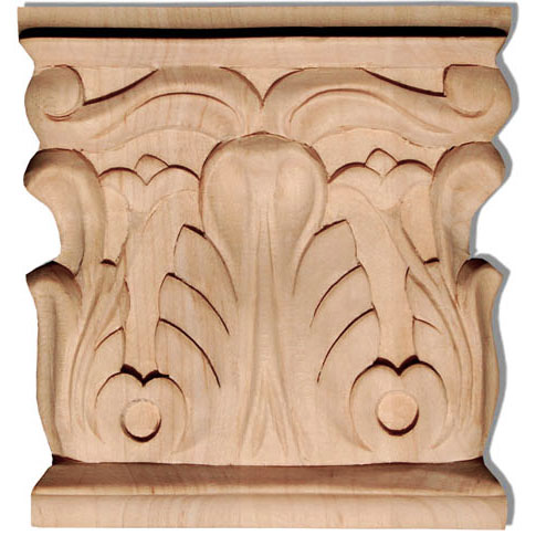 Anaheim wood capital are carved with rising acanthus leaf