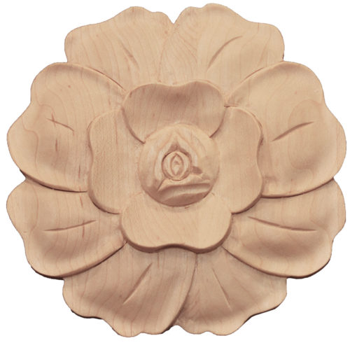 California wood rosettes are carved with flower motif