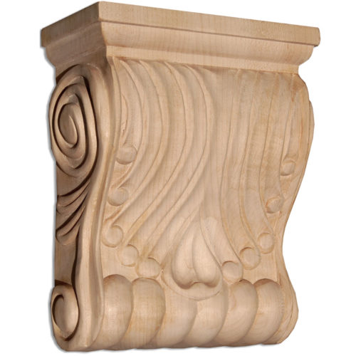 Columbus wood corbels are carved in a deep relief with stylized leaf motif. On the sides corbels have a graceful curves and classic scrolls design