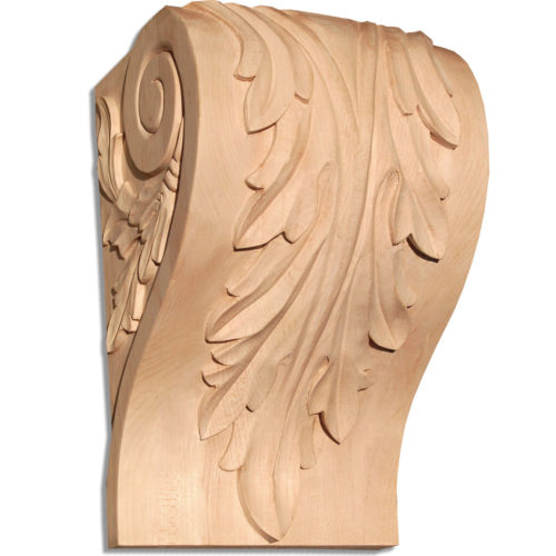 Charlotte corbels have a traditional carved in a deep relief acanthus leaf design with graceful leaf scrolls on the sides