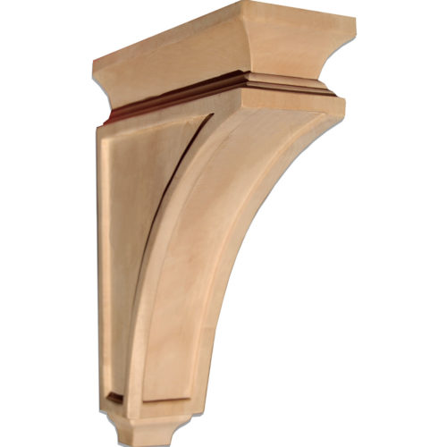 These wood brackets are preferred as additional supports for shelving, kitchen counters, bars, or fireplace mantel shelves. Delray wood brackets are carved in the Craftsman style