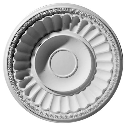 Fluted ceiling dome has molded in a deep relief fluted design. The ceiling dome comes factory primed and is suitable for painting, glazing or faux finish.